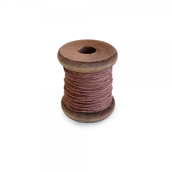 'Strong Paper Twine on Old Reclaimed Silk Bobbin - Chocolate Brown - 30m'