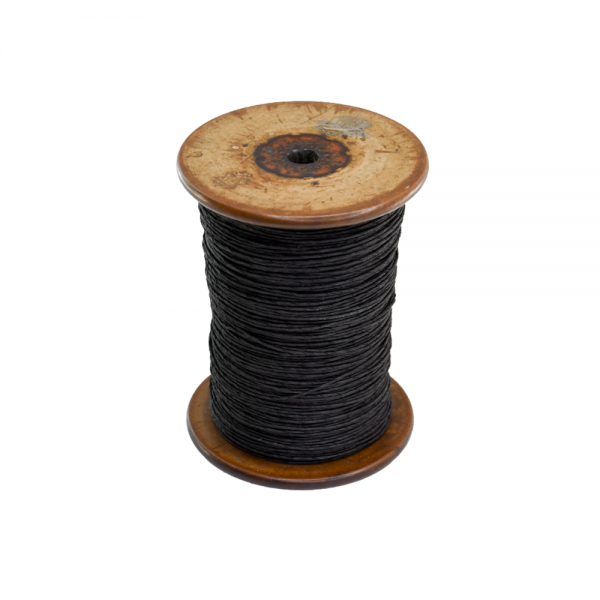 'Strong Paper Twine on Old Reclaimed Silk Bobbin - Black - 1m'