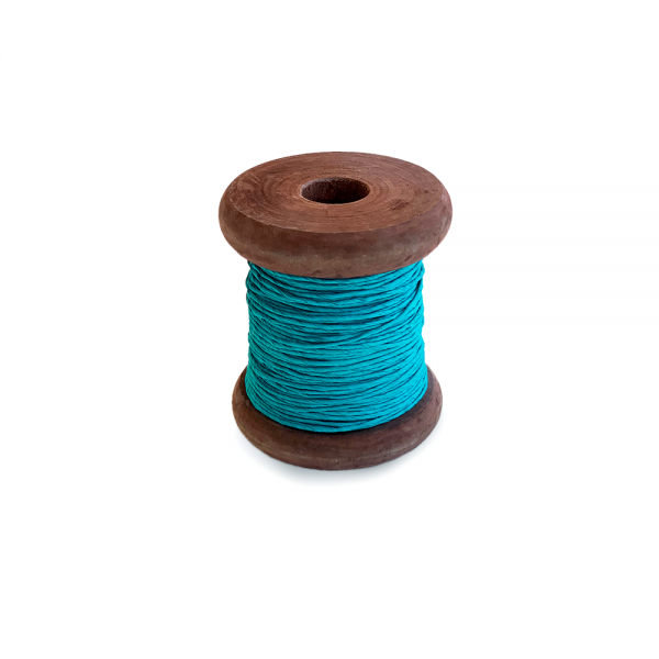 Strong Paper Twine on Old Reclaimed Silk Bobbin - Turquoise Teal - 30m'
