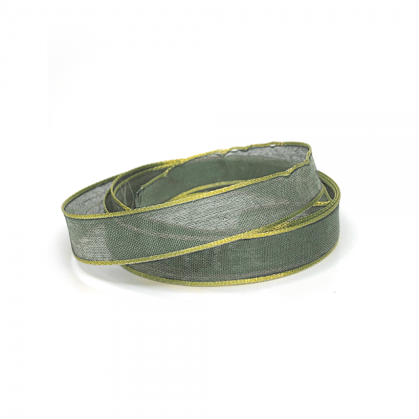 Decorative ribbon with gold edge 'Light olive'/yard goods