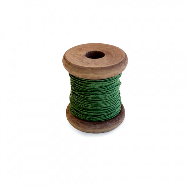 'Strong Paper Twine on Old Reclaimed Silk Bobbin - Dark Green - 30m'