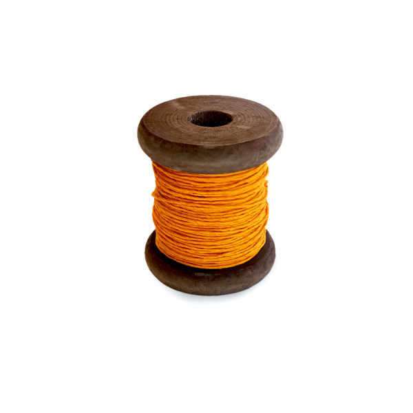 'Strong Paper Twine on Old Reclaimed Silk Bobbin - Orange - 30m'