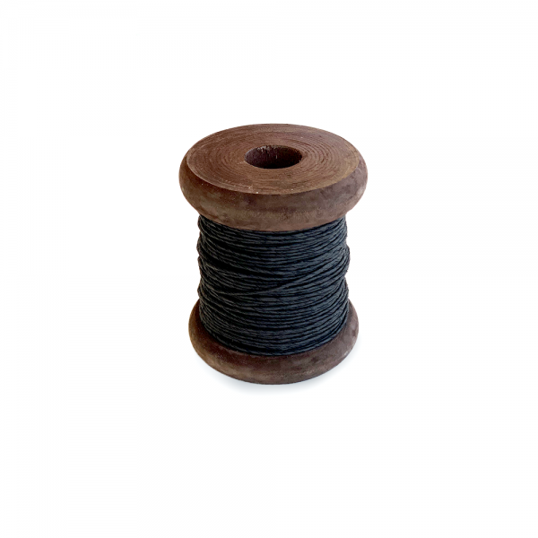 'Strong Paper Twine on Old Reclaimed Silk Bobbin - Black - 30m'