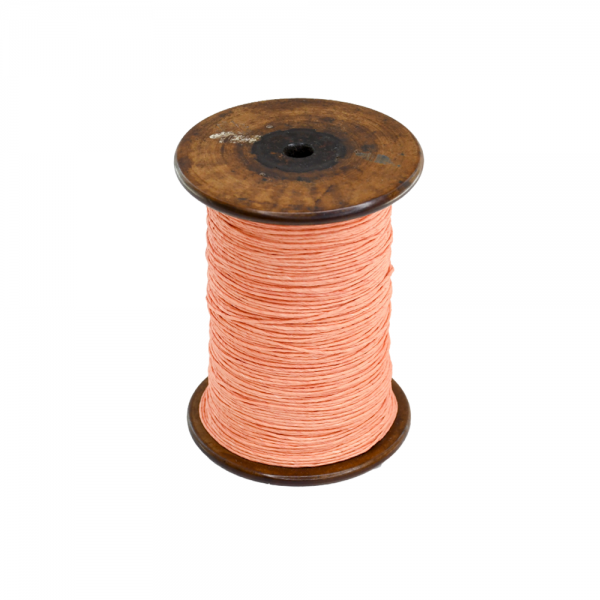 'Strong Paper Twine on Old Reclaimed Silk Bobbin - Coral - 1m'