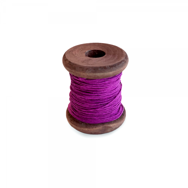 'Strong Paper Twine on Old Reclaimed Silk Bobbin - Violet - 30m'