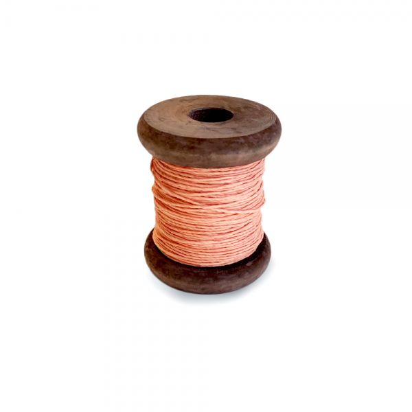 'Strong Paper Twine on Old Reclaimed Silk Bobbin - Coral - 30m'