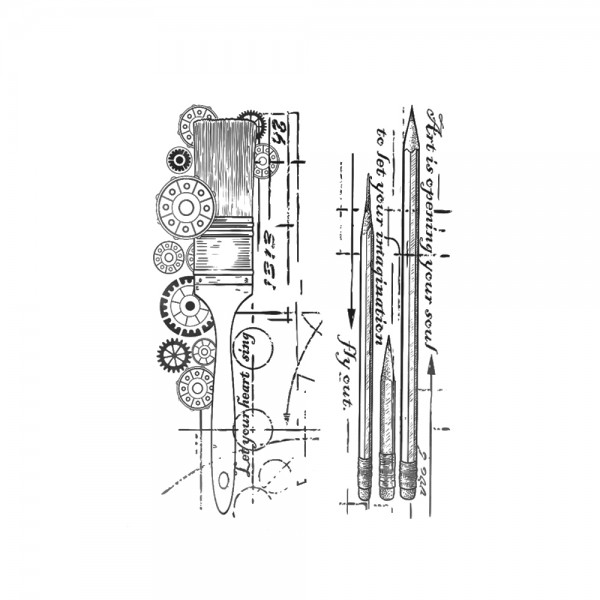 Cling Stamp 'Artist's tools'