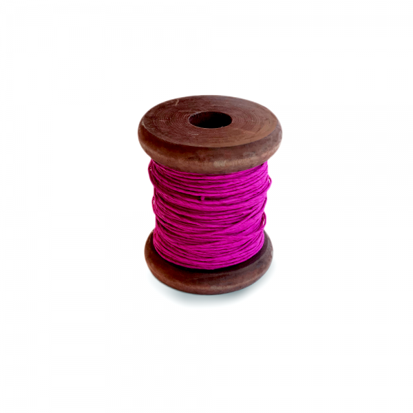 'Strong Paper Twine on Old Reclaimed Silk Bobbin - Magenta - 30m'