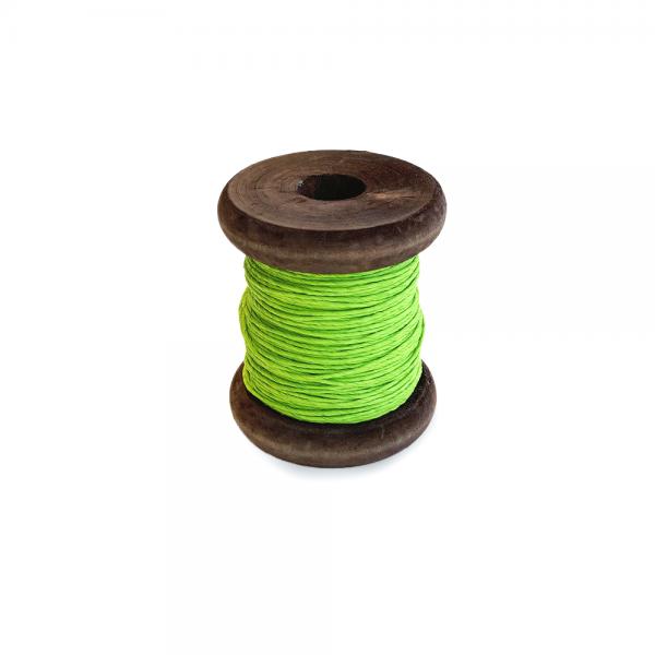 'Strong Paper Twine on Old Reclaimed Silk Bobbin - Fresh Green - 30m'