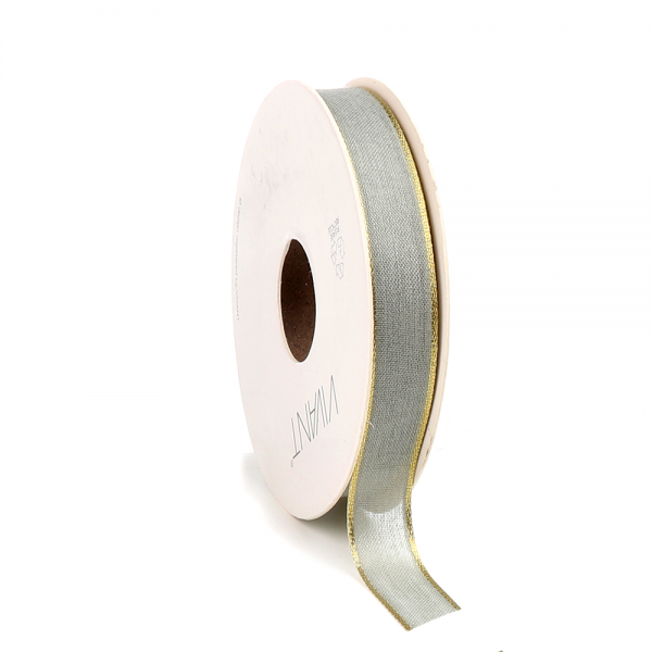 Decorative ribbon with gold edge 'Light olive'