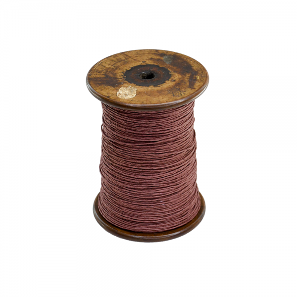 'Strong Paper Twine on Old Reclaimed Silk Bobbin - Chocolate Brown - 1m'
