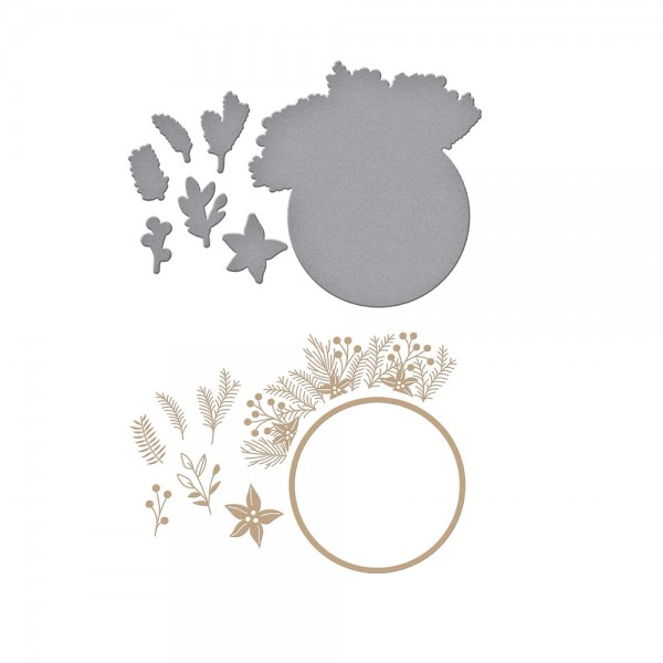 Glimmer Plate and Die 'Christmas Foliage Circle Border'