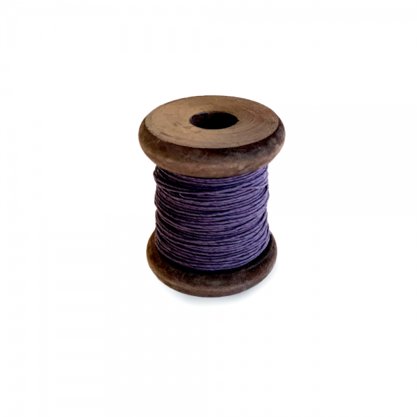 'Strong Paper Twine on Old Reclaimed Silk Bobbin - Aubergine - 30m'